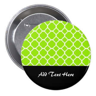 Bright Lime Green and White Quatrefoil Pattern Pinback Buttons