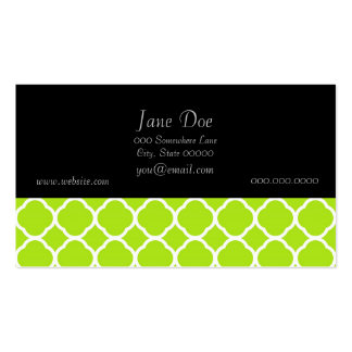 Bright Lime Green and White Quatrefoil Pattern Business Card Templates