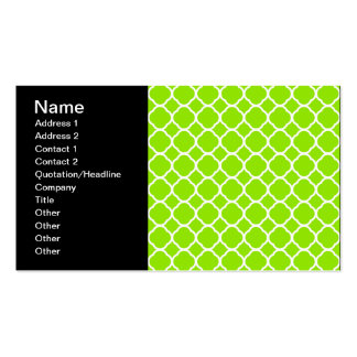 Bright Lime Green and White Quatrefoil Pattern Business Card Template