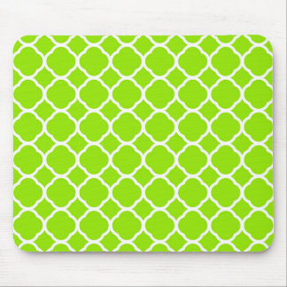 Bright Lime Green and White Quatrefoil Pattern Mouse Pad