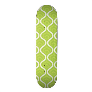 Bright Lime Green and White Retro Pattern Skate Decks