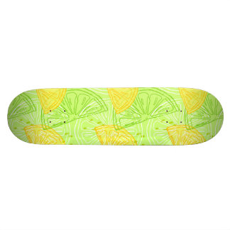 Bright lime green citrus lemons pattern 20.6 cm skateboard deck