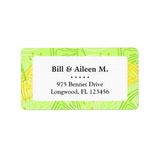 Bright lime green citrus lemons pattern address label
