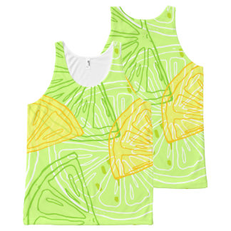 Bright lime green citrus lemons pattern All-Over print singlet