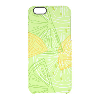 Bright lime green citrus lemons pattern clear iPhone 6/6S case