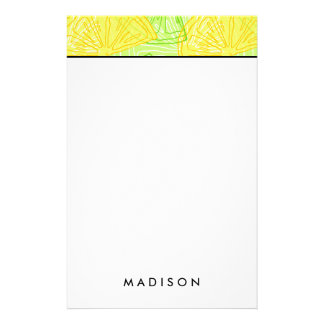 Bright lime green citrus lemons pattern customised stationery