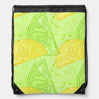 Bright lime green citrus lemons pattern drawstring bag