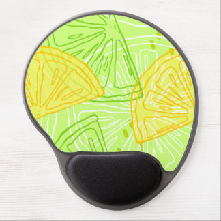 Bright lime green citrus lemons pattern gel mouse pad