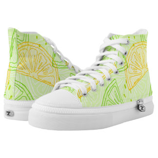 Bright lime green citrus lemons pattern high tops