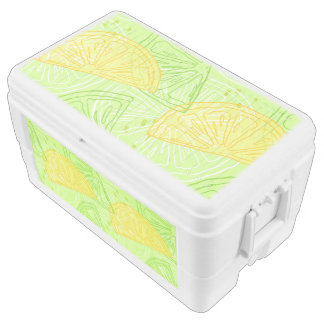 Bright lime green citrus lemons pattern ice chest