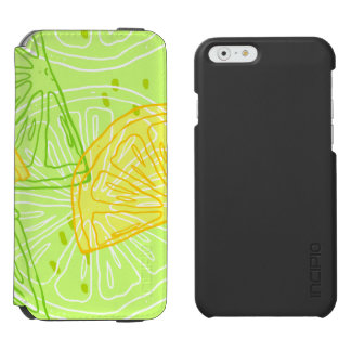 Bright lime green citrus lemons pattern incipio watson™ iPhone 6 wallet case