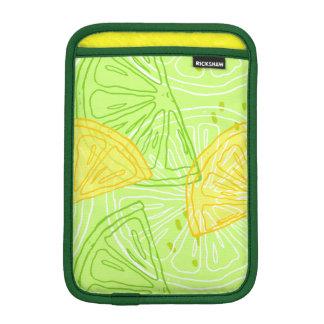 Bright lime green citrus lemons pattern iPad mini sleeve