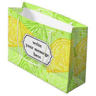 Bright lime green citrus lemons pattern large gift bag