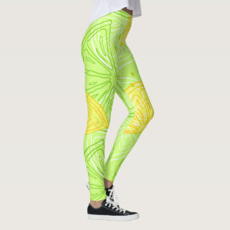 Bright lime green citrus lemons pattern leggings