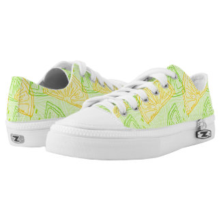 Bright lime green citrus lemons pattern low tops