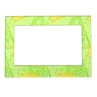 Bright lime green citrus lemons pattern magnetic frame