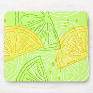 Bright lime green citrus lemons pattern mouse pad