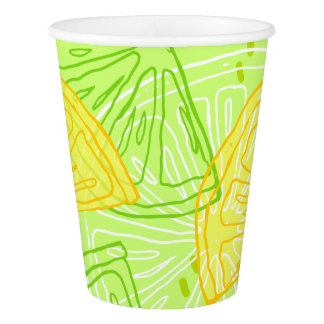 Bright lime green citrus lemons pattern paper cup