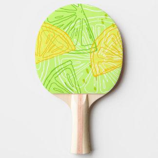 Bright lime green citrus lemons pattern ping pong paddle
