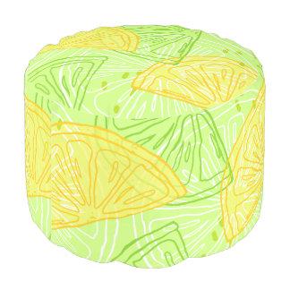 Bright lime green citrus lemons pattern pouf