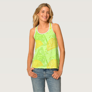 Bright lime green citrus lemons pattern singlet