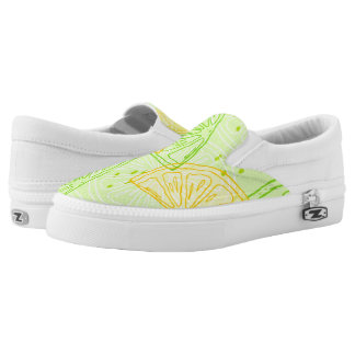 Bright lime green citrus lemons pattern slip on shoes