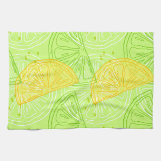 Bright lime green citrus lemons pattern tea towel