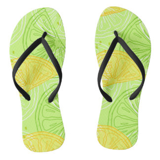 Bright lime green citrus lemons pattern thongs