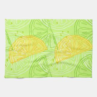 Bright lime green citrus lemons pattern towels
