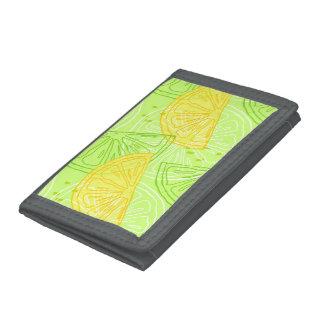 Bright lime green citrus lemons pattern tri-fold wallets