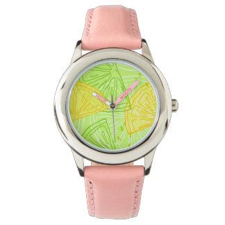 Bright lime green citrus lemons pattern watch