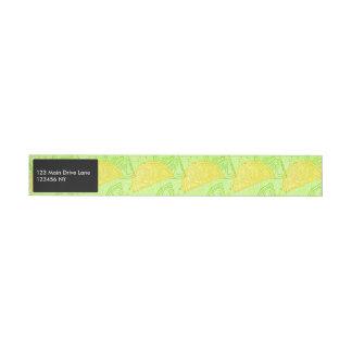 Bright lime green citrus lemons pattern wraparound address label