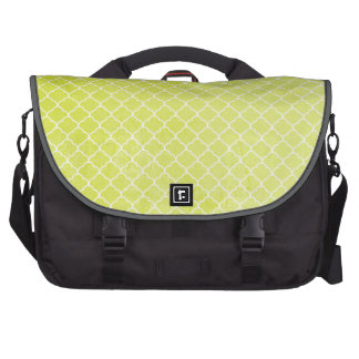 Bright Lime Green, Grunge, Moroccan Quatrefoil Laptop Computer Bag