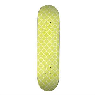 Bright Lime Green, Grunge, Moroccan Quatrefoil Custom Skate Board