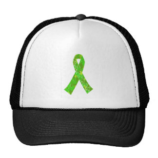 Bright Lime Green Jigsaw Puzzle Pattern Ribbon Cap