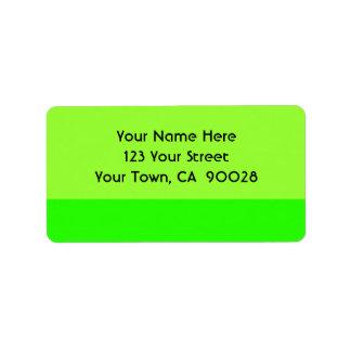 Bright lime green address label