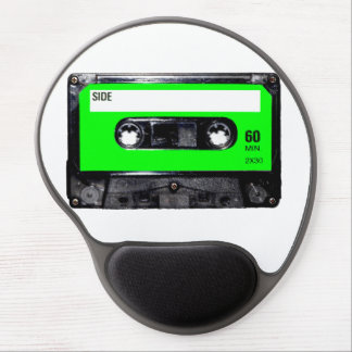 Bright Lime Green Label Cassette Gel Mousepad