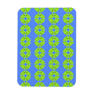 bright lime green pattern on blue flexible magnet