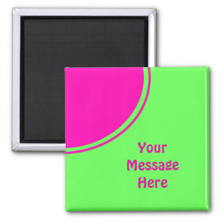 Bright lime green pink mod circle magnets