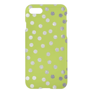 Bright Lime Green Silver Glitter Dots iPhone 7 Case