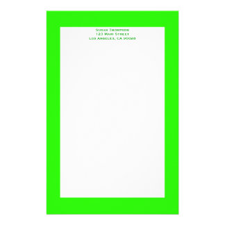 bright lime green stationery design