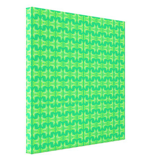 Bright Lime Green Tiki Pattern Gallery Wrap Canvas