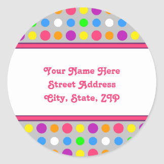 Bright Little Dots Address Labels Round Sticker