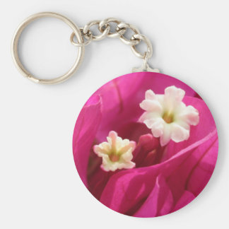 Bright Magenta Colored Bougainvillea Basic Round Button Key Ring