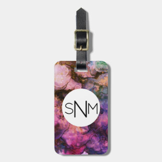 Bright Marble Paint Monogram Luggage Tag