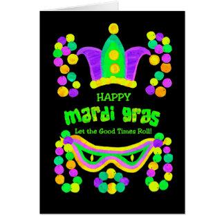 Bright Mardi Gras Card on Black, Crown Mask Beads