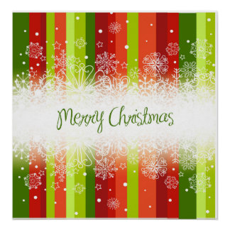 Bright Merry Christmas Holiday Design Poster