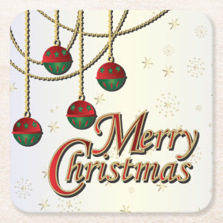 Bright Merry Christmas Square Paper Coaster