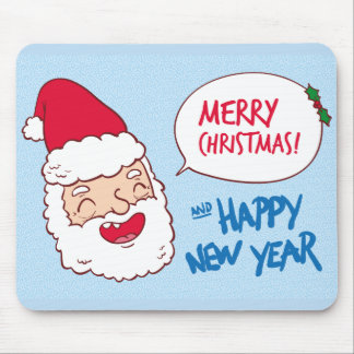 Bright merry santa claus laughing illustration mouse pad