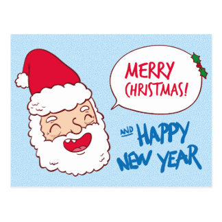 Bright merry santa claus laughing illustration postcard